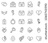 thin line icon set   rose... | Shutterstock .eps vector #1060743590