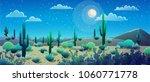 desert landscape at nignt with... | Shutterstock .eps vector #1060771778