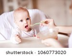 baby eating mashed apple in...   Shutterstock . vector #1060773020
