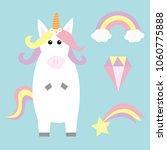 unicorn holding rainbow cloud... | Shutterstock .eps vector #1060775888