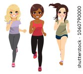 three young cute jogging... | Shutterstock .eps vector #1060790000