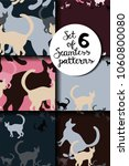 set of six cute seamless...   Shutterstock .eps vector #1060800080