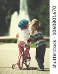 happy childrens outdoor  ... | Shutterstock . vector #1060801670
