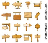 signpost road wooden icons set. ... | Shutterstock .eps vector #1060803686