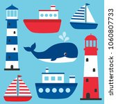 vector nautical set with... | Shutterstock .eps vector #1060807733