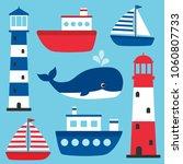 vector nautical set with... | Shutterstock .eps vector #1060807733