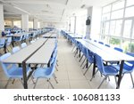 Stock photo clean school cafeteria with many empty seats and tables 106081133