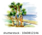 watercolor palms on the beach... | Shutterstock . vector #1060812146