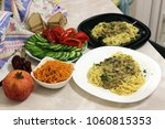a varied dinner for two with... | Shutterstock . vector #1060815353