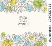 background with myrtus  myrtle  ...   Shutterstock .eps vector #1060827116