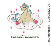 cute unicorn greeting card.... | Shutterstock .eps vector #1060832729