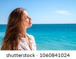 portrait the beautiful girl on...   Shutterstock . vector #1060841024