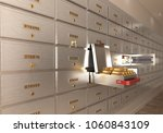 bank safe open cell with gold... | Shutterstock . vector #1060843109