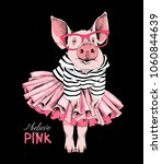 pig posing like a superstar in... | Shutterstock .eps vector #1060844639