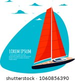 yacht club sticker with sail... | Shutterstock .eps vector #1060856390