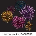 realistic vector fireworks...   Shutterstock .eps vector #106085780