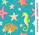 seahorse and starfish seamless... | Shutterstock .eps vector #1060860539