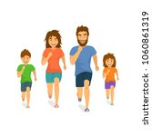 active family man woman boy... | Shutterstock .eps vector #1060861319