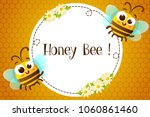 Circle Frame With Cute Bees An...