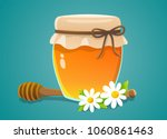honey jar with wood dipper and... | Shutterstock .eps vector #1060861463