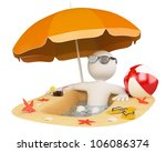 3d white person in the beach... | Shutterstock . vector #106086374