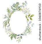 wedding greenery oval frame.... | Shutterstock .eps vector #1060876910