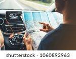 hipster man looking point... | Shutterstock . vector #1060892963