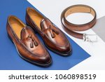 men's brown leather shoes and... | Shutterstock . vector #1060898519