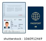 Stock vector vector blank open passport template international passport with sample personal data page 1060912469