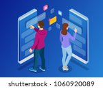 isometric woman and man typing... | Shutterstock .eps vector #1060920089