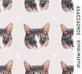 cat face seamless pattern ... | Shutterstock . vector #1060923959