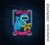 glowing neon sign of summer...   Shutterstock .eps vector #1060924418