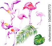 beautiful watercolor flamingos  ... | Shutterstock . vector #1060938773