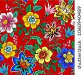 colorful floral seamless vector ... | Shutterstock .eps vector #1060940489