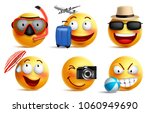 smileys vector set with summer... | Shutterstock .eps vector #1060949690