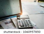 laptop with deadline calendar... | Shutterstock . vector #1060957850