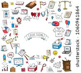 hand drawn doodle vote icons...   Shutterstock .eps vector #1060961864