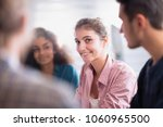meeting at the startup office . ... | Shutterstock . vector #1060965500