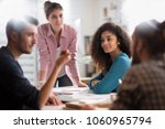 meeting at the startup office.... | Shutterstock . vector #1060965794