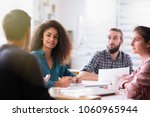 meeting at the startup office.... | Shutterstock . vector #1060965944