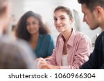 meeting at college  . a working ... | Shutterstock . vector #1060966304