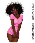 african american sweet pinup... | Shutterstock .eps vector #1060971560