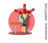 businesswoman depressed because ... | Shutterstock .eps vector #1060972136