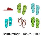 slippers icon set. color... | Shutterstock .eps vector #1060973480