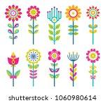 wild field flowers in colorful... | Shutterstock .eps vector #1060980614