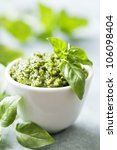 closeup of freshly made pesto | Shutterstock . vector #106098404