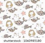 cat mermaid seamless pattern   Shutterstock .eps vector #1060985180