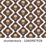 light brown skull head bones... | Shutterstock .eps vector #1060987928