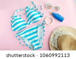 summer accessories and blue... | Shutterstock . vector #1060992113