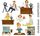 bloggers and vloggers vector... | Shutterstock .eps vector #1060992824
